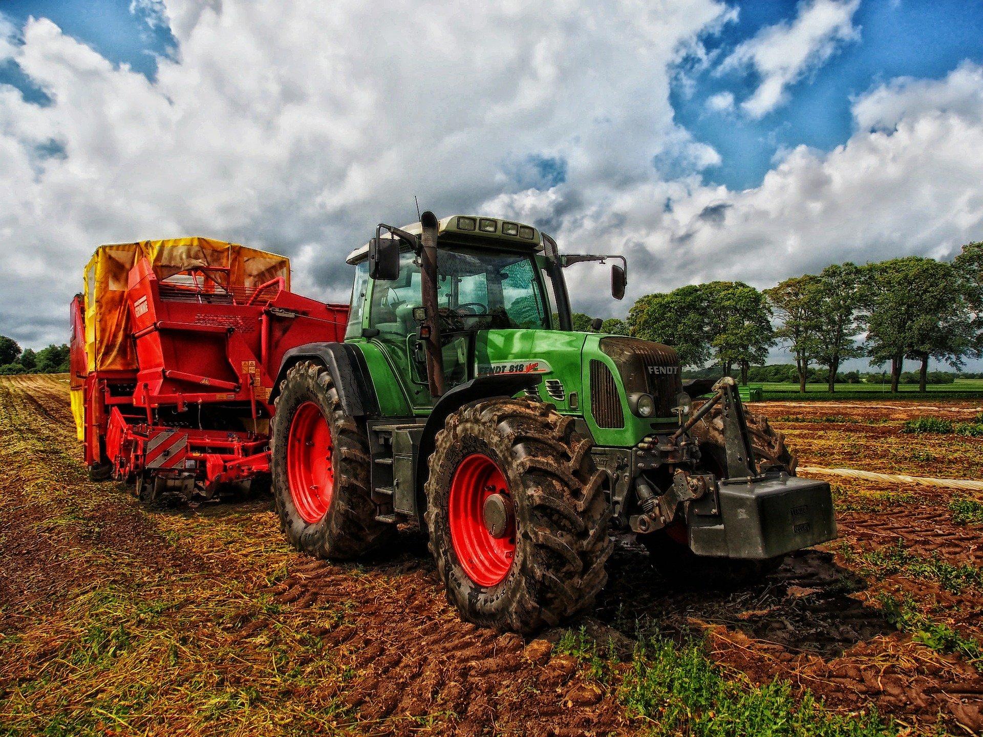 traktor, mark, natur, bondegård